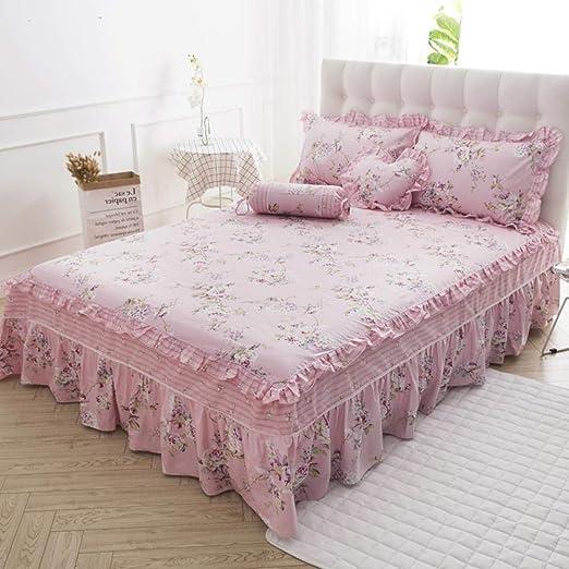 XNSY colchas Cama 135 Invierno Rosa Colcha de algodón, Falda de ...