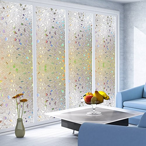 bloss no adhesive decorative window film premium 3d static cling film privacy window films for. Black Bedroom Furniture Sets. Home Design Ideas