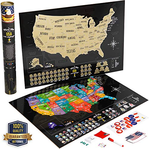 Scratch Off Map of America - Us Map Scratch Off Laminated Poster - United States Map Art - Gold USA Map - Premium Travel Map Poster with Symbols and Landmarks - Travel Gift