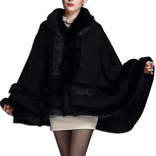KAXIDY Mujer Abrigo de piel de Imitación del Cabo Ropa de abrigo Chaquetas Encapuchado
