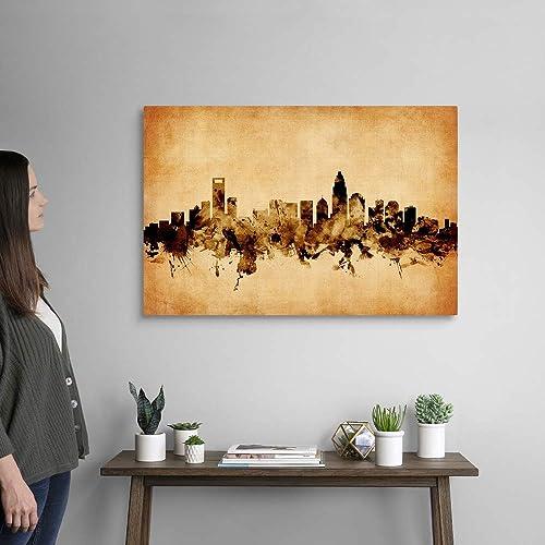 Charlotte North Carolina Skyline Canvas Wall Art Print