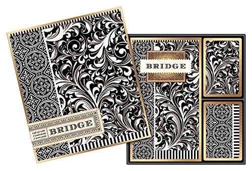 (Michel Design Works Bridge Cards Gift Set, Black Florentine )