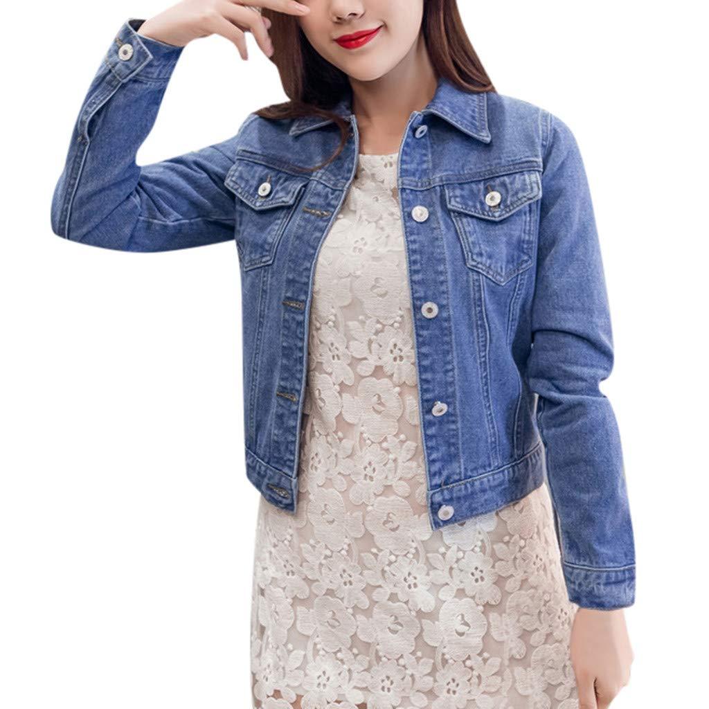Womens Basic Button Down Denim Jean Jacket Women's Cropped Denim Jacket by Dunacifa Women Outwear