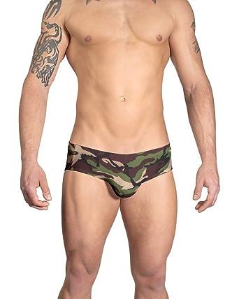 b06988d844 Vuthy Sim Brand Men's Swim Brief in Green and Brown Camouflage Print - XXL