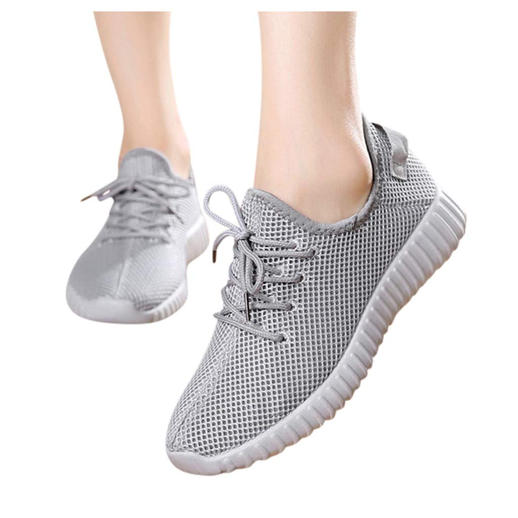 Fainosmny Women's Ladies Girls Running Shoes Fashion Solid Mesh Light Sport Run Sneakers Casual Shoes Sneakers Shoes Gray by Fainosmny