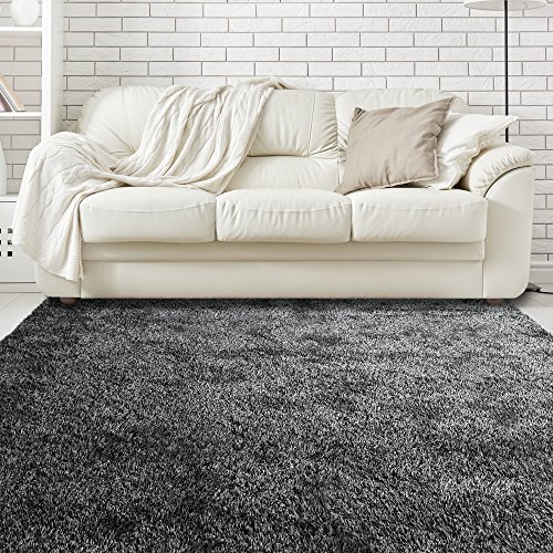 iCustomRug Priscilla Shaggy Soft Rug 3ft0in x 5ft0in (3′ x 5′) In Black & White For Sale