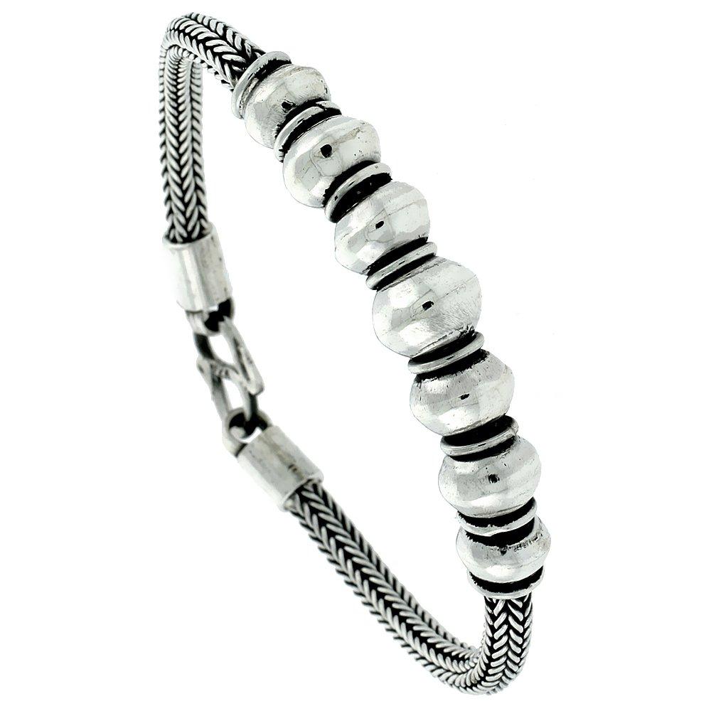 8 inch Sterling Silver Bali Style Bracelet 7 Beads, 7/16 inch