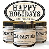 Try the lush scents of Old Factory Candles for yourself!  These 4-ounce candles will remind you of cherished holiday memories. This set of 3 aromatherapy candles features the fresh scents of pine and peppermint, and the spicy sweet scent of g...