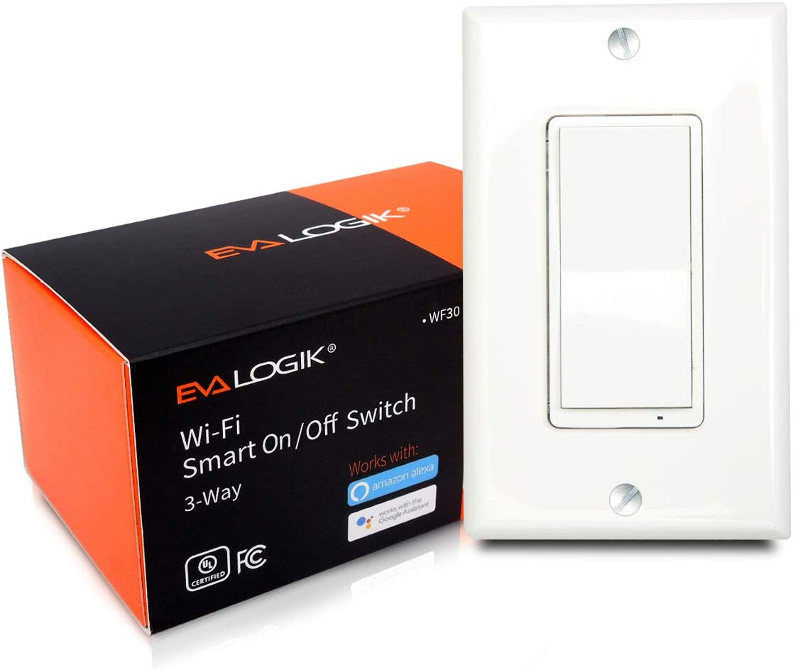 3-Way Smart WiFi Light Switch, On/Off Control, in-Wall, No Hub Required, Compatible with Alexa and Google Home, ETL and FCC Listed (WF30)