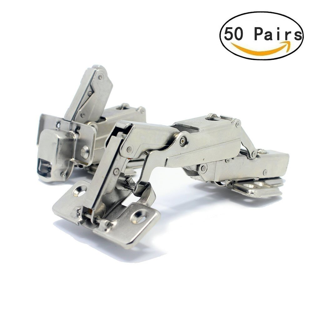 T&B 175 Degree Hinges Face Frame Cabinet Hinges Hydraulic Adjustable Mounting Concealed Hinges Soft Closing Stainless Steel Buffer Dampers for Wardrobe,50 Pair (Half Overlay)