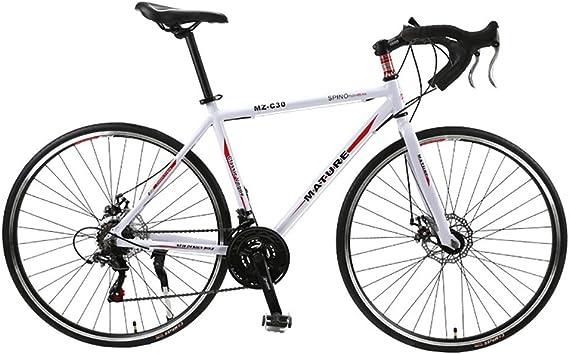 Bicicleta de carretera para hombres y mujeres, 700C aleación de aluminio de la curva del manillar de carreras con SHIMANO SORA 30 Desviador velocidad Sistema de freno de disco y dobles,Black red: