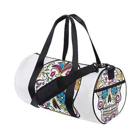 6a23fa03b357 Amazon.com: OuLian Duffel Bag Sugar Skull Vector Women Garment Gym ...