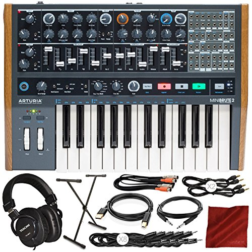 Arturia MiniBrute 2 Semi-Modular Monophonic Analog Synthesizer with Tascam Mixing Headphones, Keyboard Stand, Cables, Deluxe Accessory Bundle