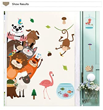 Bdhnmx Cartoon Animals Wall Sticker for Kids Room Wall Background Decals Lion Panda Bear Mural PVC