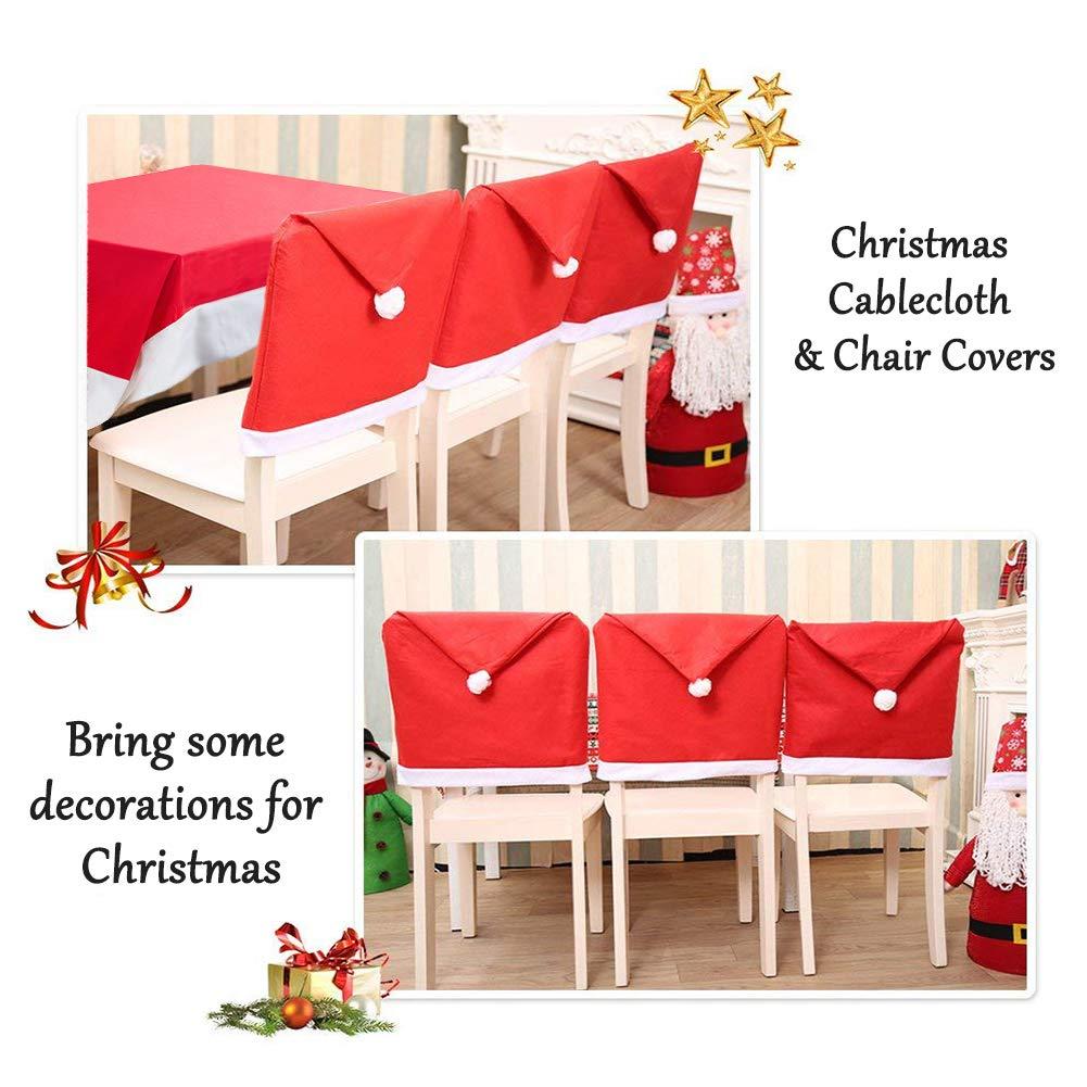Mogomiten 6+1 Set de decoración navideña, Juego de 6 Fundas para sillas de Papá Noel + 1 Mantel de Navidad: Amazon.es: Hogar