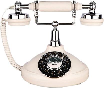 Retro Push Button Corded Desk Phone Basic Telephone Ivory Vintage Style NEW