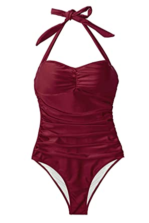 eecb9b4f744 CUPSHE Women's Deep Red Wine Halter Ruching One Piece Swimsuit at Amazon  Women's Clothing store:
