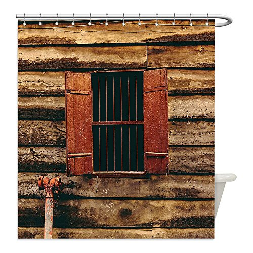 Liguo88 Custom Waterproof Bathroom Shower Curtain Polyester House Decor Wooden Old Lumberjack House with Single Window and Wires in Dark Photograph Red and Brown Decorative bathroom - Diy Lumberjack Costume