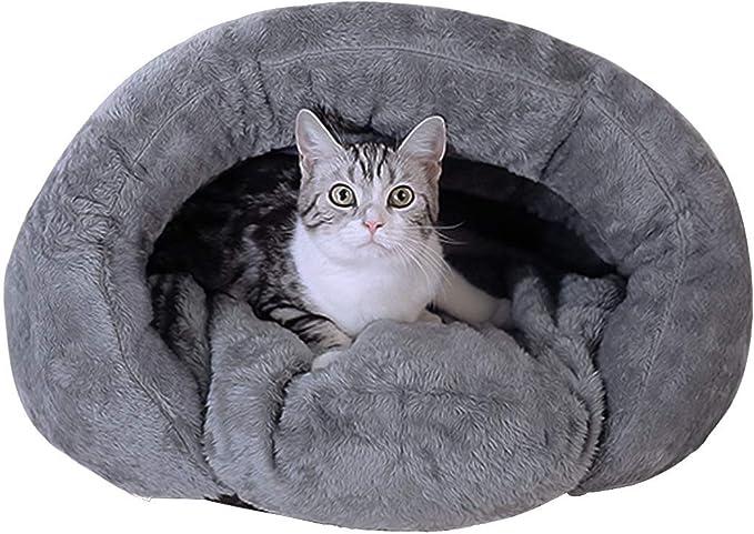 猫 ベッド 冬 Bwiv ペット用寝袋 猫 ベッド ドーム 冬用 あたたかい 洗える 犬 ベッド 猫ハウス かわいい ペット ベッド マット 兼用 ソフト 取り外せるカバー 滑り止め 犬 ベッド ドーム グレー M