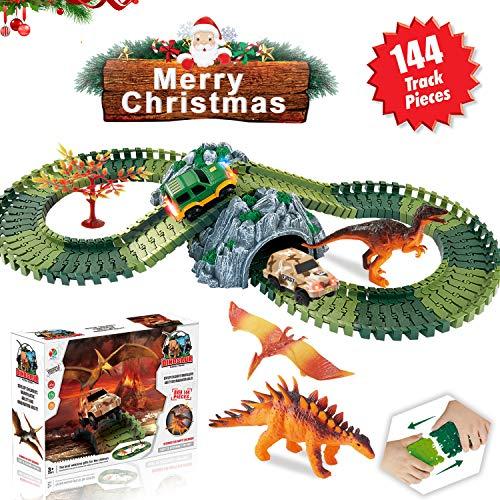 HOMOFY Dinosaur Toys Race Car Track Sets Jurassic World 144 Pcs Flexible Tracks, 3 Dinosaurs, 2 LED Cars, 1 Tree 2 in 1 Tunnel 2 3 4 Year Old Girls Boys-(Trademark Protected)