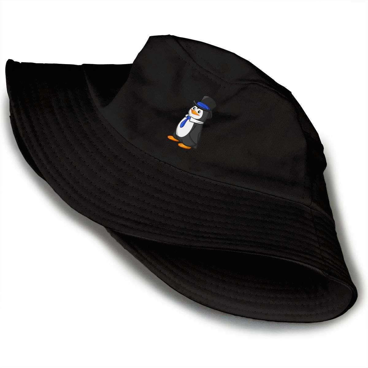 PPAN Cute Penguin Unisex Cotton Packable Black Travel Bucket Hat Fishing Cap