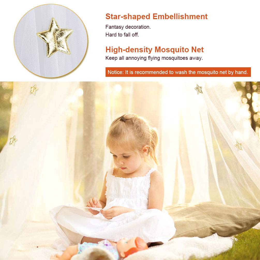 Uarter Boho Princess Mosquito Net, Bed Canopy Girls/Boys Mosquito Net Bed Conical Curtains Kids Play Tent with Stars or Luminous Butterflies for Kids, Installation-Free, Blue/White (White-1) by Uarter (Image #5)