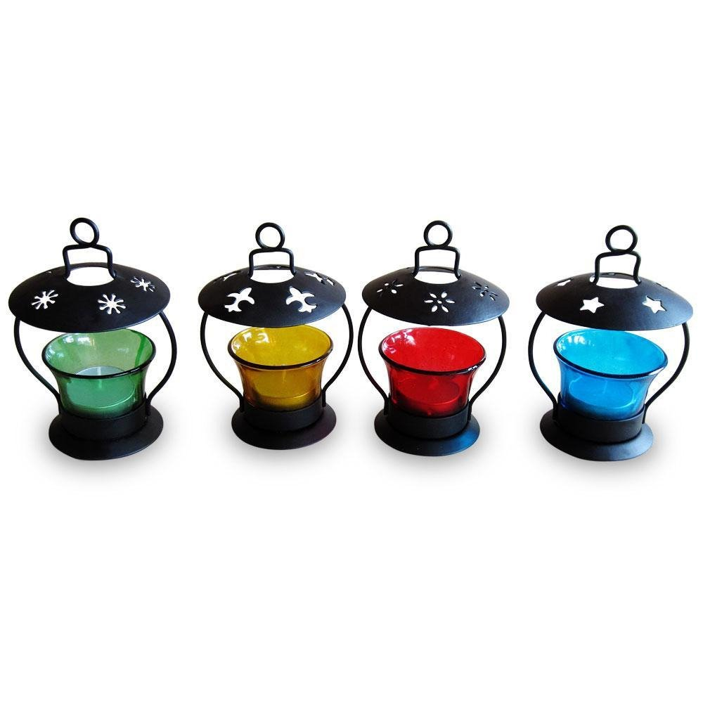 Buy Pindia Decorative T-Lite Candle Holder Set (Set of 4) Online at ...