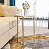 HAWOO Gold Side Table, Marble End Table, Modern Nightstand Accent Table for Small Spaces, Decorative Displaying Table…