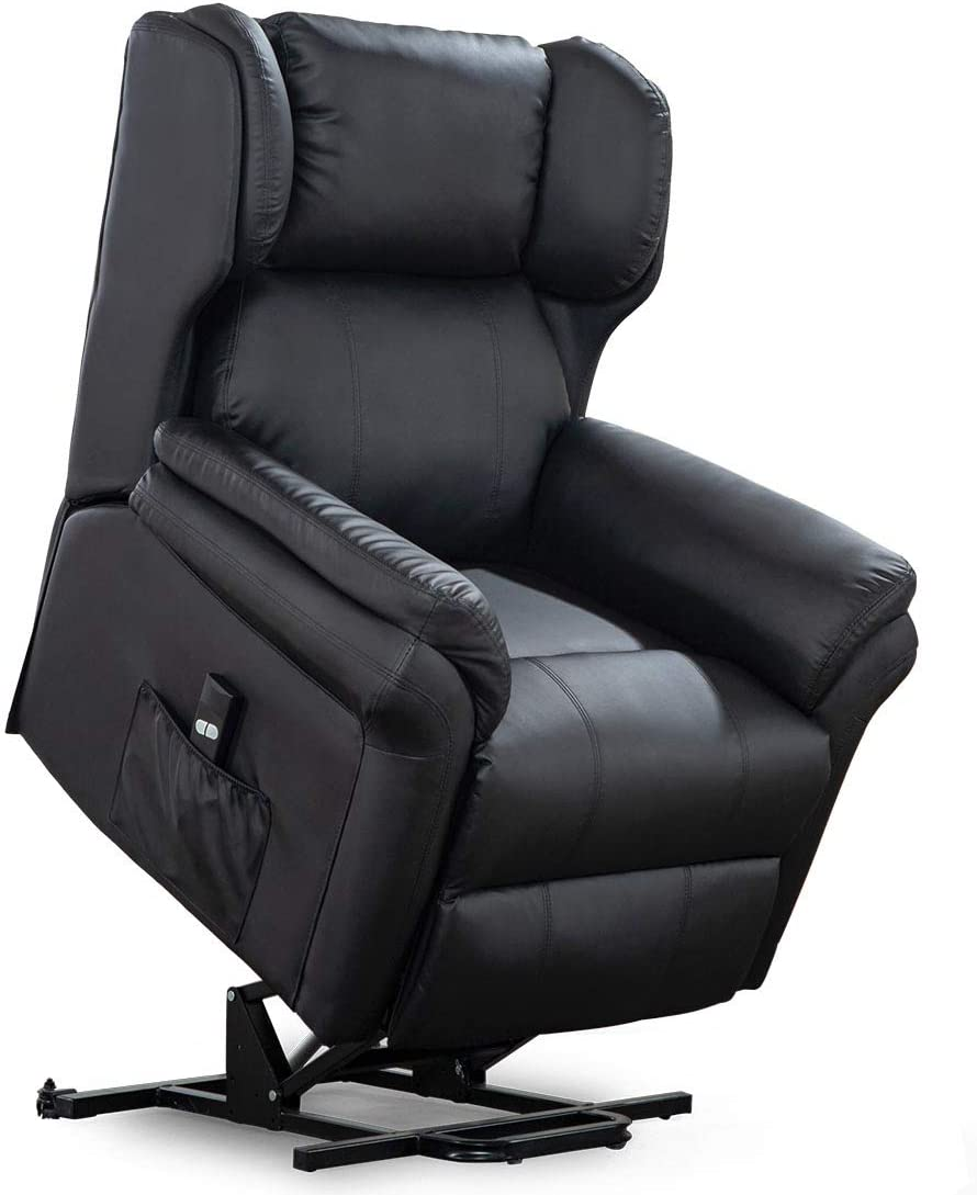 Black More4Homes OAKFORD ELECTRIC RISE RECLINER BONDED LEATHER ARMCHAIR LOUNGE SOFA MOBILITY CHAIR