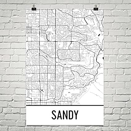 Amazon Com Sandy Map Sandy Art Sandy Print Sandy Ut Poster Salt