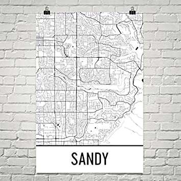 Amazon Com Sandy Map Sandy Art Sandy Print Sandy Ut Poster Salt