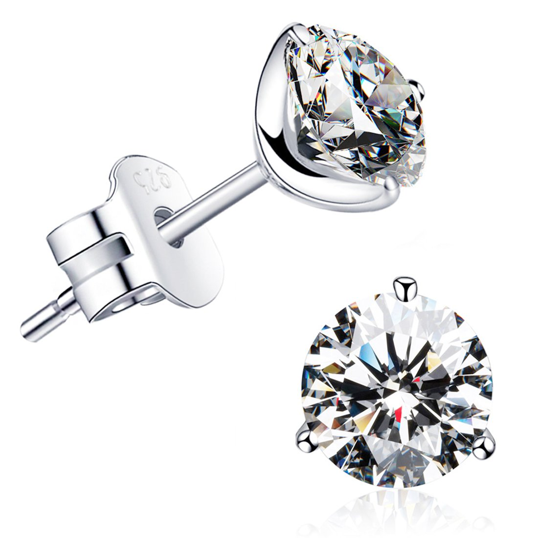 ''STUNNING FLAME'' 18K Gold Plated Silver Brilliant Cut Simulated Diamond CZ Stud Earrings (white-gold-plated-sterling-silver, 1.5)