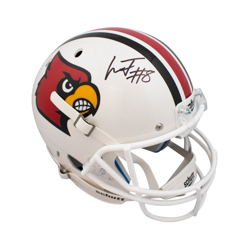 20e4762b156 Amazon.com  Lamar Jackson Autographed Louisville Cardinals Full Size Football  Helmet JSA COA  Sports Collectibles
