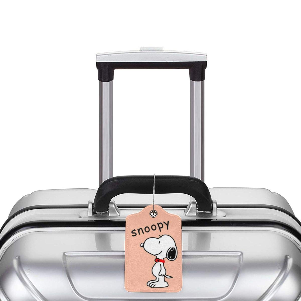 Fashion Snoopy And His Life Soft Leather Luggage Tags With Privacy Cover 1-4 Pcs Choose Suit For Travel,Vacation