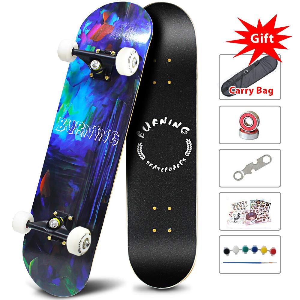 Easy_Way Complete Skateboards -Standard Skateboards for Beginners Starter – 31 x 8 Canadian Maple Pro Cruiser Standard Skate Boards