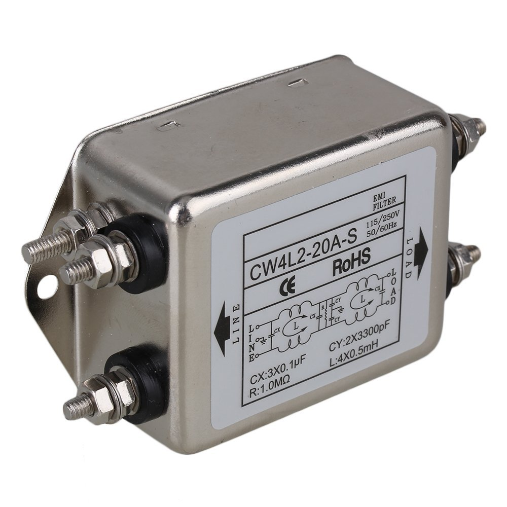 CNBTR Silver Metal CW4L2-20A-S Screw Type AC115~250V 20A Suppressor Power Supply Bipolar EMI Line Filter yqltd CNBTR184