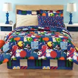 All Star Sports, Full Comforter (8 Piece Bed Bag), Football, Soccer, Baseball