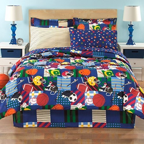 All Star Sports, Full Comforter (8 Piece Bed Bag), Football, Soccer, Baseball by DOS