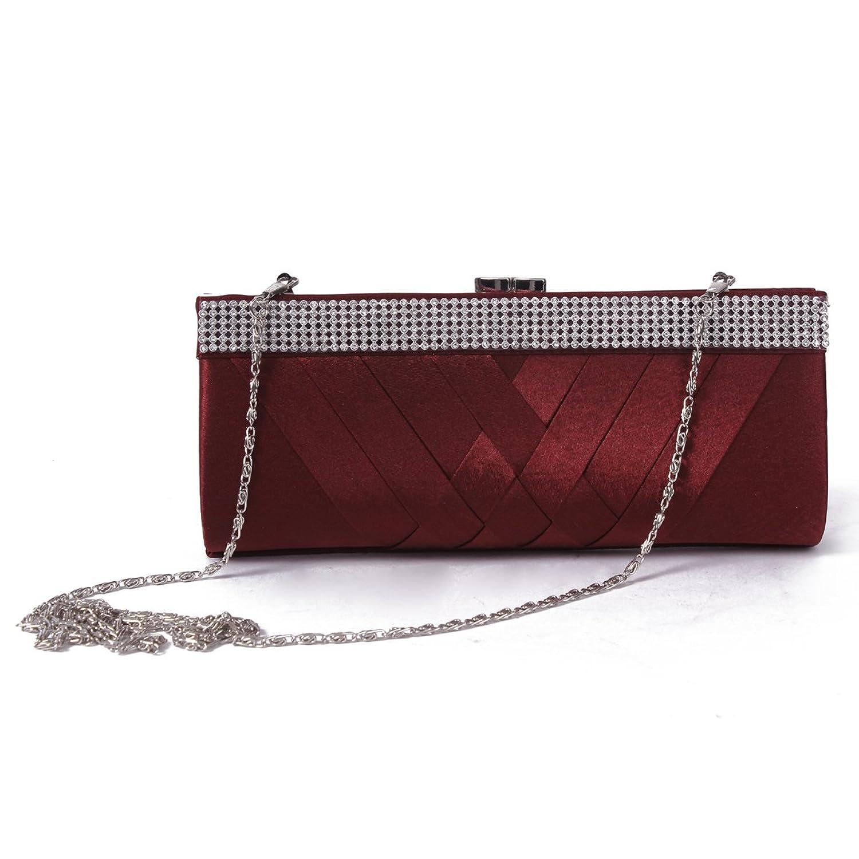 Damara Women's Chic Statin Pleated Clutch Rhinestones Evening Bag, Gold:  Handbags: Amazon.com