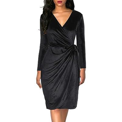 Lyrur Elegant Women's V Neck Long Sleeve Ruched Sheath Bodycon Wedding Party Black Velvet Wrap Dresses at Women's Clothing store