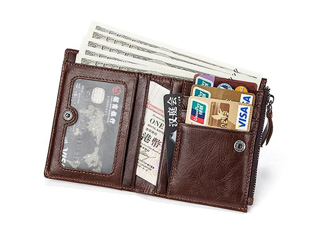 Mens Leather Wallet RFID Blocking Credit Card Holder Coin Pocket Purse 9x1.5x11.5CM