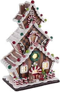 Kurt S. Adler 13-Inch Cookie 3-Layered LED Gingerbread House, Multi