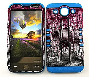 SHOCKPROOF HYBRID CELL PHONE COVER PROTECTOR FACEPLATE HARD CASE AND LIGHT BLUE SKIN WITH STYLUS PEN. KOOL KASE ROCKER FOR LG OPTIMUS G PRO E980 PINK WHITE LB-FD220