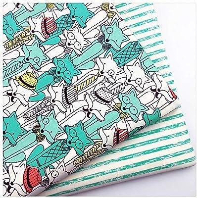 Pukido - Tela de sarga de algodón con diseño de zorro de dibujos ...