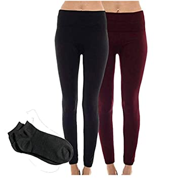 b439e6424fc5a2 Sofra Women's Classic High Waisted Wide Band Yoga Fleece Value Pack Leggings  (One Size (