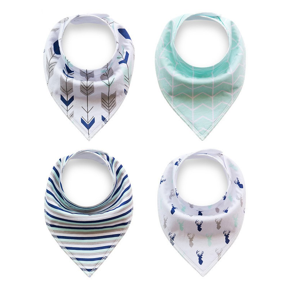 Busy Mom 4-Pack Unisex Baby Toddlers Bandana Drool Bibs with Snaps 100% Soft Organic Cotton Unique Shower Gift Set Super Absorbent for Teething Feeding Fashion Adjustable