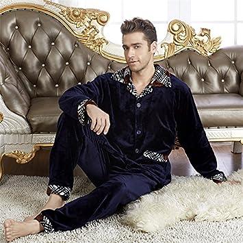 &zhou pijama hombre ocio mantener suelta caliente High-End pijamas gruesos hogar ropa de invierno