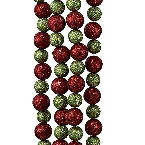 Kurt Adler Red & Lime Green Laser Glitter Ball Garland - 10ft (Large Image)