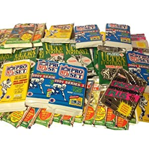 100 Vintage Football Cards in Old Sealed Wax Packs – Perfect for New Collectors