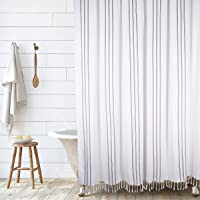Hall & Perry Vertical Stripe Shower Curtain 100% Cotton Striped Fabric Shower Curtain Bathroom Decor, 72x72 (Black and…